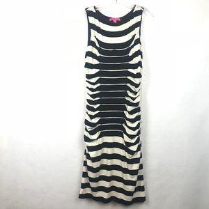 Betsy Johnson Black Striped Sleeveless Dress